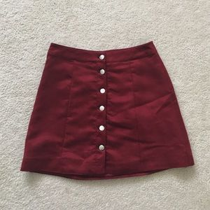H&M maroon button down skirt
